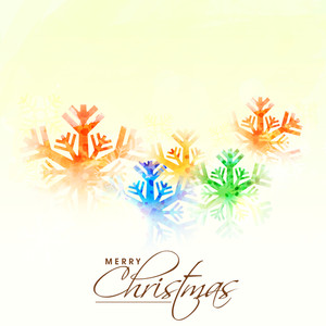 Elegant greeting card design with colorful snowflakes on shiny background for Merry Christmas celebration.