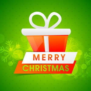 Glossy wrapped gift on snowflakes decorated green background for Merry Christmas celebration.