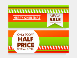 Mega Sale website header or banner set with half price discount offer for Merry Christmas.