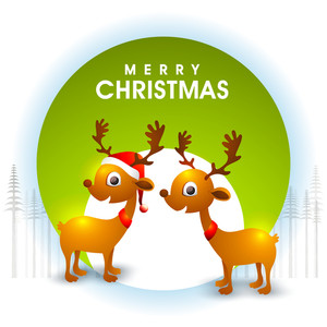 Elegant greeting card design with cute reindeers on shiny background for Merry Christmas celebration.
