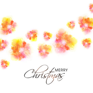 Elegant greeting card design with creative colorful snowflakes for Merry Christmas celebration.