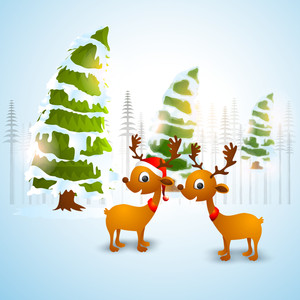 Cute reindeers and snow covered Xmas Trees on shiny sky blue background for Merry Christmas celebration.