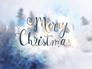 Stylish text Merry Christmas on beautiful snowflakes decorated shiny background.