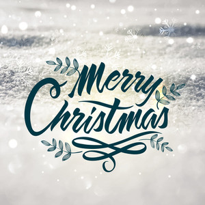 Elegant greeting card design with beautiful snowy background for Merry Christmas celebration.