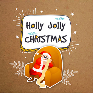 Elegant greeting card design with Santa Claus sitting on sofa and reading long wish list on grungy background for Holly Jolly Christmas celebration.