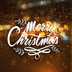 Elegant greeting card design with stylish text Merry Christmas on snowflakes decorated creative shiny background.
