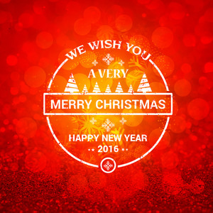 Elegant greeting card design with creative ornaments on red glitter background for Merry Christmas and Happy New Year celebration.