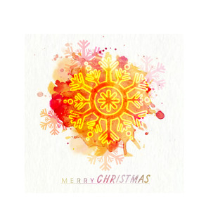 Creative shiny snowflake on abstract colorful splash background for Merry Christmas celebration.