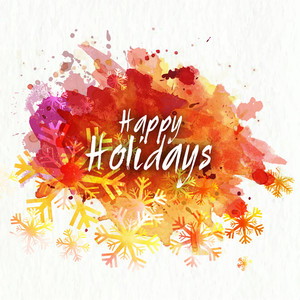 Creative shiny snowflakes on colorful splash background for Happy Holidays celebration.