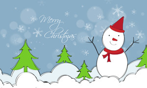Cute snowman on Xmas Trees decorated winter background for Merry Christmas celebration.