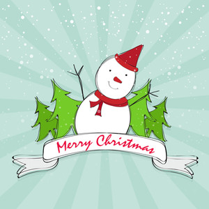 Greeting card design with cute snowman and Xmas Tree on abstract rays background for Merry Christmas celebration.