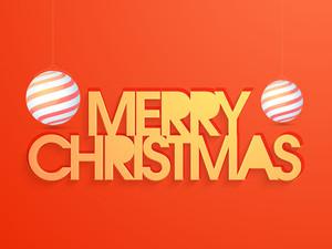 Merry Christmas celebration greeting card design with glossy Xmas Balls on orange background.