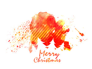 Merry Christmas celebration with white silhouette of Xmas Tree on colorful splash.