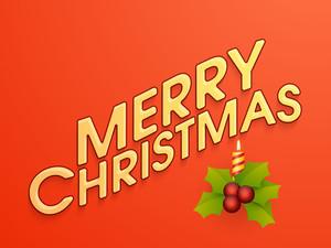 Beautiful greeting card design with mistletoe and illuminated candle on orange background for Merry Christmas celebration.
