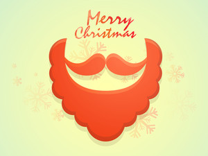 Greeting card design with creative Santa beard and moustache on snowflakes decorated background for Merry Christmas celebration.