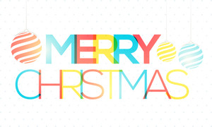 Colorful text Merry Christmas with hanging Xmas Balls on glossy background.