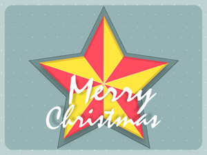 Greeting card design with colorful star for Merry Christmas celebration.