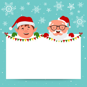 Cute smiling Santa Claus and boy holding a blank board on snowflakes decorated background for Merry Christmas celebration.