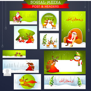 Creative Social Media post and headers set with various ornaments for Merry Christmas celebration.