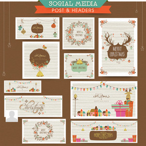 Creative social media post and header set with various stylish ornaments for Merry Christmas celebration.