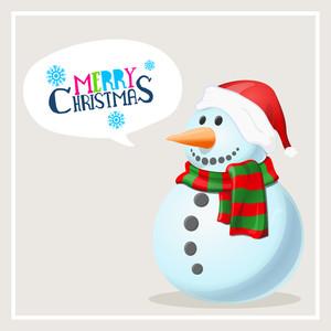 Cute snowman in cap and scarf