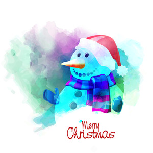 Creative cute snowman with colorful splash for Merry Christmas celebration.