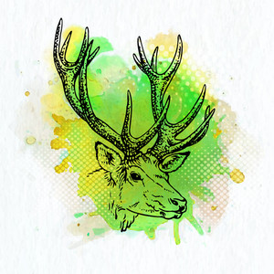 Creative illustration of reindeer with color splash for Merry Christmas celebration.