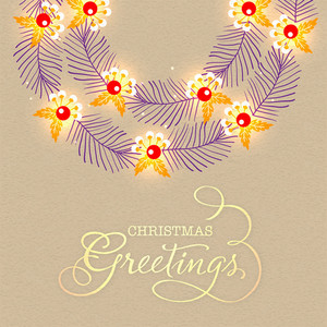 Elegant greeting card design decorated with creative fir tree branches and mistletoes on stylish background for Merry Christmas celebration.