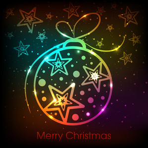 Shiny colorful Xmas Balls on stars decorated greeting card for Merry Christmas celebration.