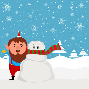 Merry Christmas celebration with illustration of a man and snowman on snowflakes decorated winter background.