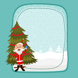 Merry Christmas celebration greeting card design with cute Santa Claus