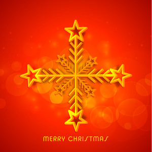 Greeting card design with creative snowflake on shiny orange background for Merry Christmas celebration.