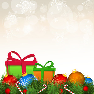 Colorful creative ornaments decorated greeting card for Merry Christmas celebration.
