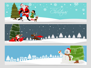Merry Christmas celebration website header or banner set.