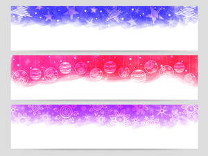 Floral Xmas Balls and snowflakes decorated website header or banner set for Merry Christmas celebration.