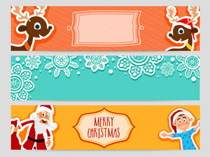 Merry Christmas celebration website header or banner set with cute Santa