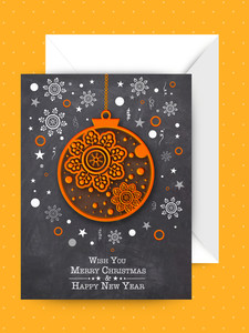 Creative Xmas Balls and snowflakes decorated greeting card with envelope for Merry Christmas and Happy New Year celebration.