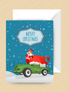 Greeting card with envelope and cute Santa on car for Merry Christmas celebration.
