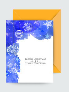 Creative Xmas Balls decorated greeting card for Merry Christmas and Happy New Year celebration.