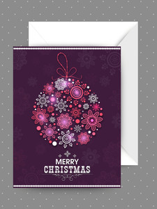 Beautiful greeting card design with envelope and glossy snowflakes decorated Xmas Ball for Merry Christmas celebration.