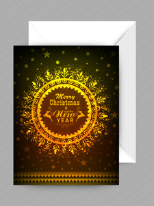 Floral decorated elegant greeting card design for Merry Christmas and Happy New Year celebration.