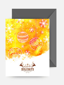 Beautiful floral Xmas Balls and snowflakes decorated greeting card for Merry Christmas and Happy New Year celebration.