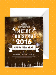 Elegant greeting card design for Merry Christmas and Happy New Year 2016 celebration.