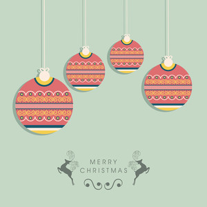 Merry Christmas celebration concept with decorated hanging balls