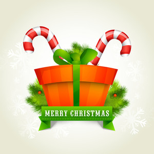 Greeting card design with glossy ornaments for Merry Christmas celebration.