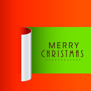 Greeting card design with paper cutout for Merry Christmas celebration.