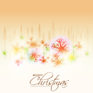 Colorful snowflakes and fir trees decorated greeting card for Merry Christmas celebration.