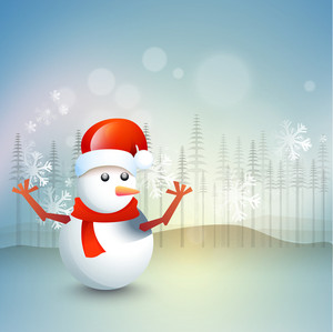 Cute snowman with Santa cap on snowflakes and fir trees decorated background for Merry Christmas celebration.