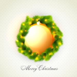 Greeting card design with glossy Xmas Ball and fir tree branches for Merry Christmas celebration.