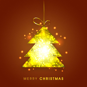 Beautiful greeting card design with shiny hanging Xmas Tree on brown background for Merry Christmas celebration.
